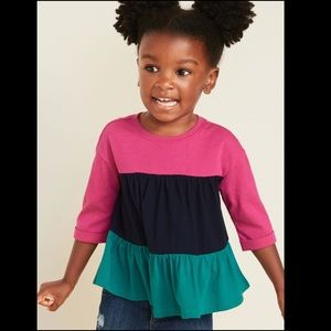 OLD NAVY Jersey Swing Toddler Top Pink/Blue/Green